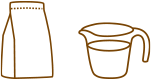 product with measuring cup of water icon